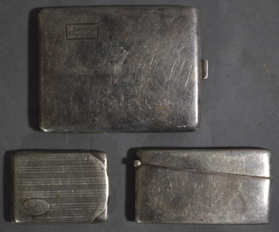STERLING SILVER CIGARETTE CASE, CARD CASE, AND MATCH