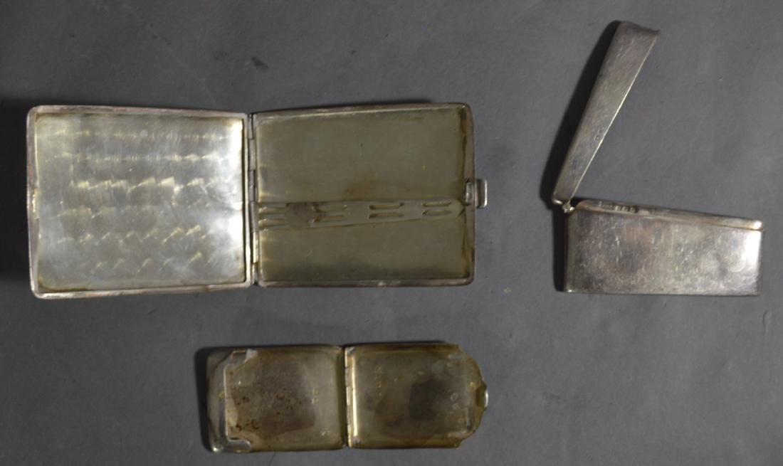 STERLING SILVER CIGARETTE CASE, CARD CASE, AND MATCH - 3