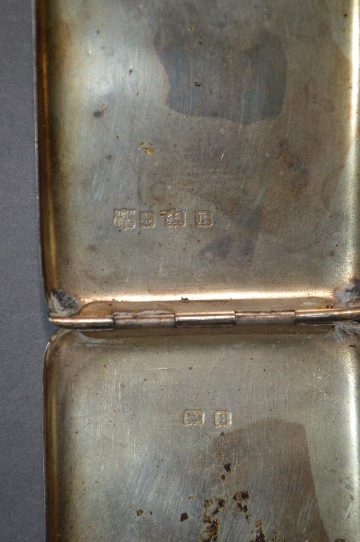 STERLING SILVER CIGARETTE CASE, CARD CASE, AND MATCH - 4