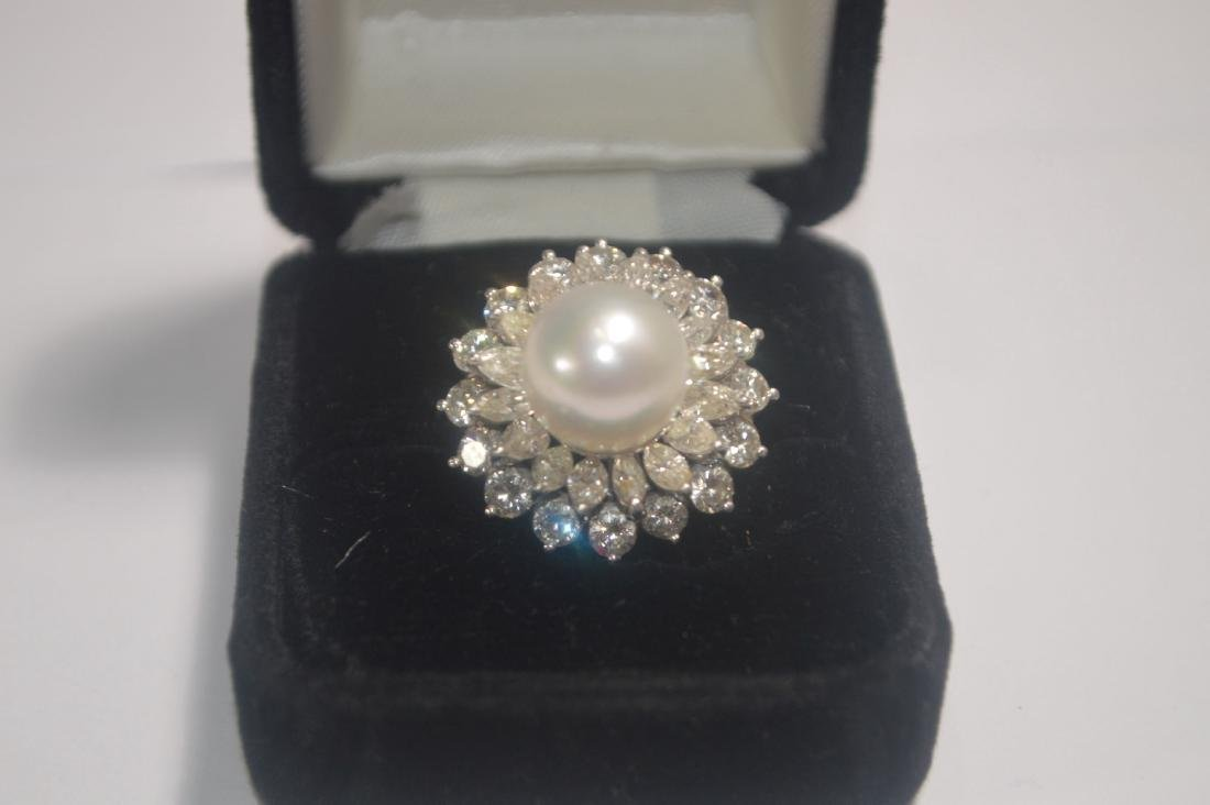 18K WHITE GOLD PEARL AND DIAMOND COCKTAIL RING  (FROM