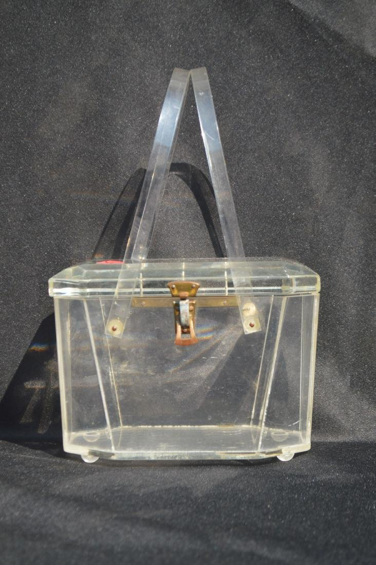 """LUCITE 1940's PURSE. 5 """" x 7"""" x 4 1/2""""  (FROM THE"""