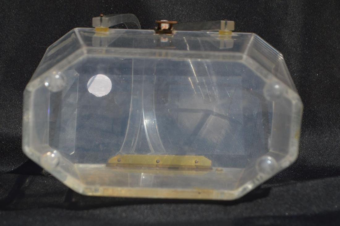 """LUCITE 1940's PURSE. 5 """" x 7"""" x 4 1/2""""  (FROM THE - 3"""
