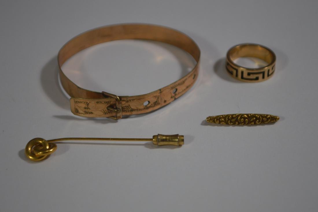 VICTORIAN GOLD BUCKLE BRACELET, GREEK KEY RING, AND 2