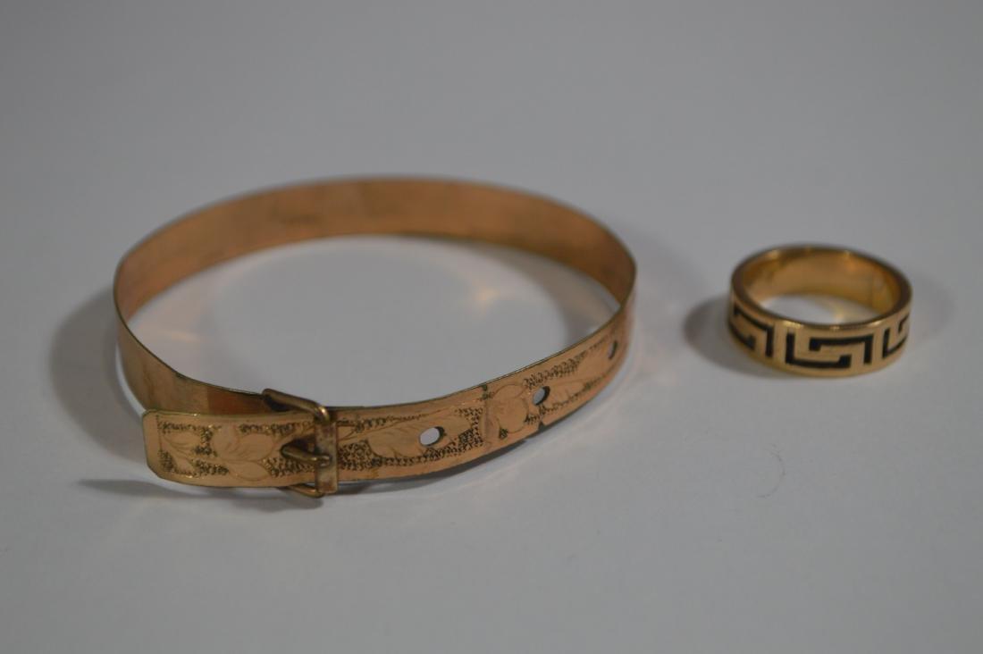 VICTORIAN GOLD BUCKLE BRACELET, GREEK KEY RING, AND 2 - 2