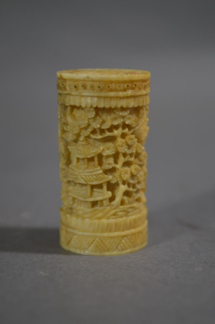 """18TH CENTURY CARVED CHINESE NETTING NEEDLE CASE. 6 1/2"""" - 3"""