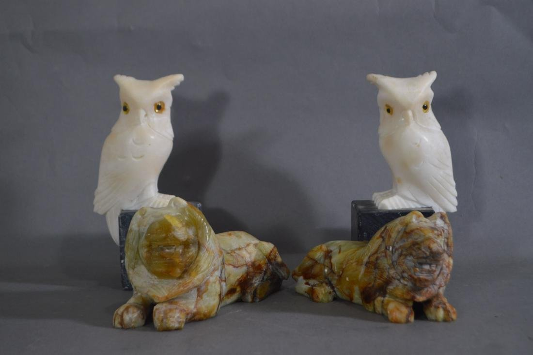 PAIR OF CARVED MARBLE OWL BOOKENDS AND A PAIR OF CARVED
