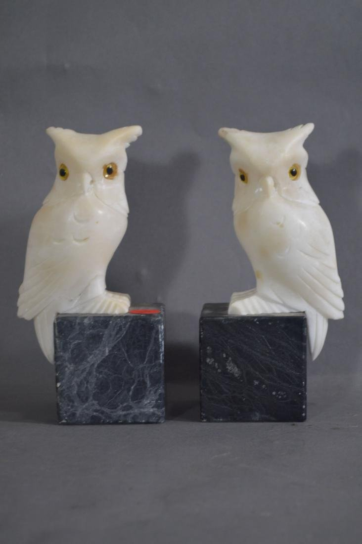 PAIR OF CARVED MARBLE OWL BOOKENDS AND A PAIR OF CARVED - 2
