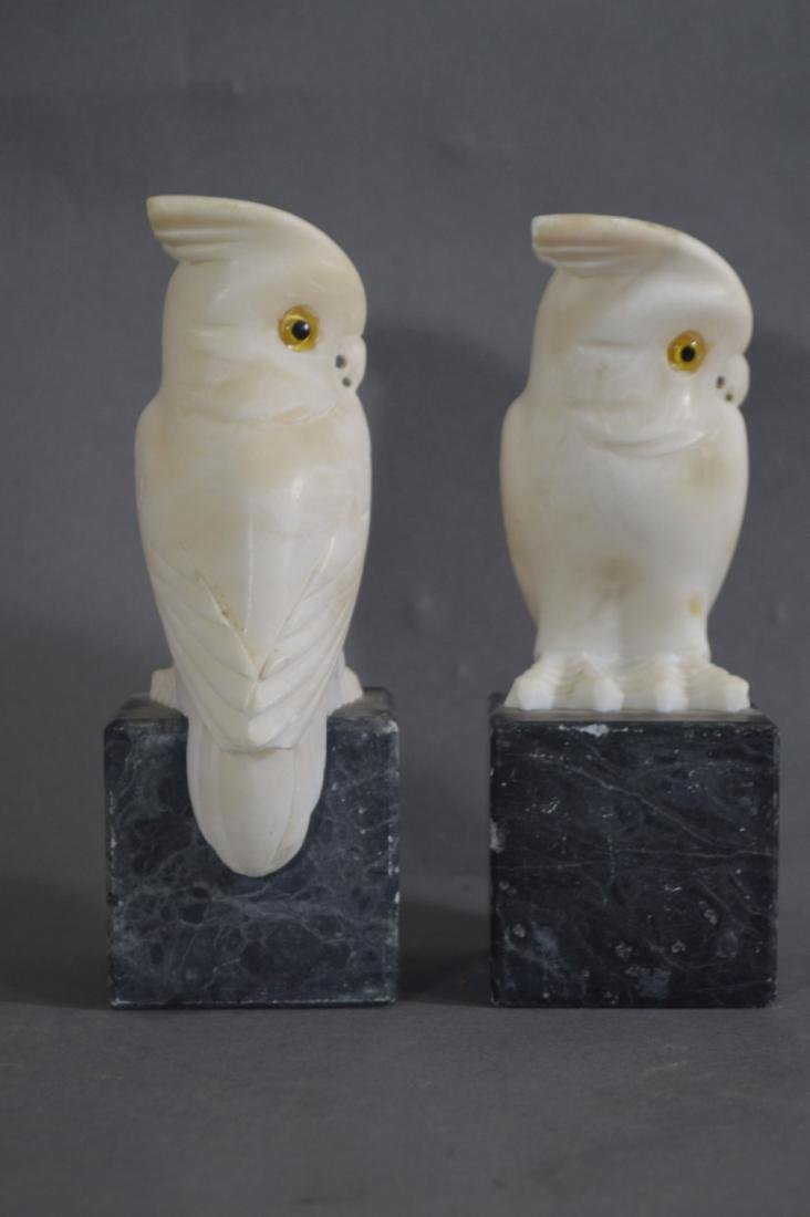 PAIR OF CARVED MARBLE OWL BOOKENDS AND A PAIR OF CARVED - 3
