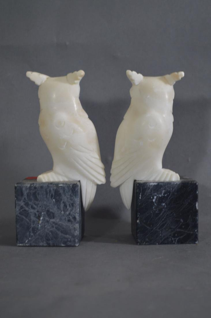 PAIR OF CARVED MARBLE OWL BOOKENDS AND A PAIR OF CARVED - 4