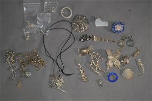STERLING SILVER JEWELRY GROUPING VARIOUS PERIODS