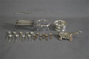10 PIECES OF STERLING SILVER SALTS SPOONS ETC