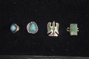 4 STERLING SILVER AND NATIVE AMERICAN RINGS