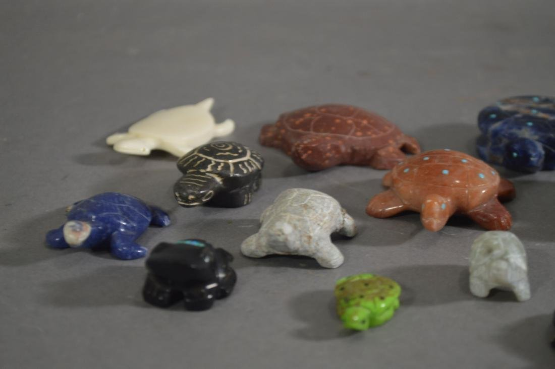 15 NATIVE AMERICAN CARVED STONE TURTLE FETISHES - 3