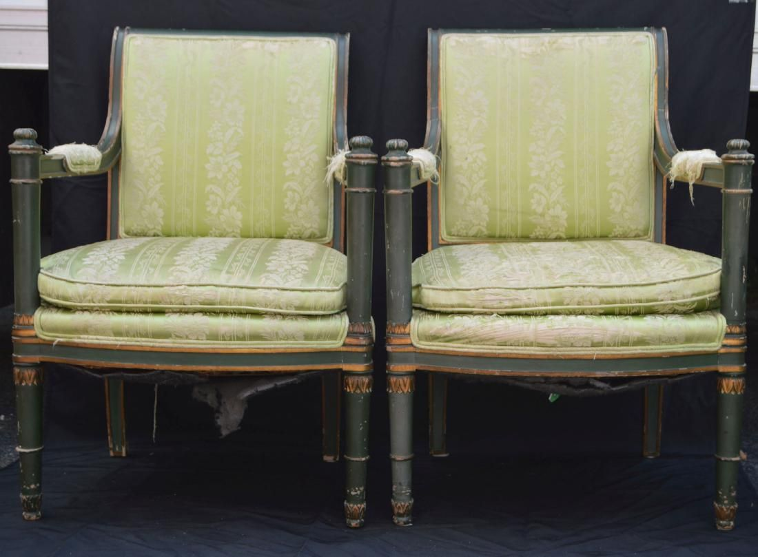 PAIR OF PAINTED FRENCH PROVINCIAL ARMCHAIRS . THE