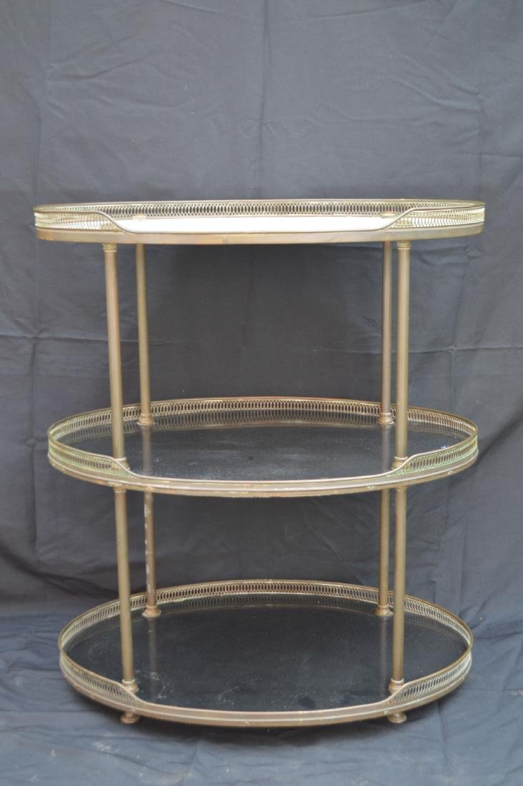 """3 TIER MIDCENTURY MARBLE TOPPED LIQUOR STAND. 31"""" X 27"""""""