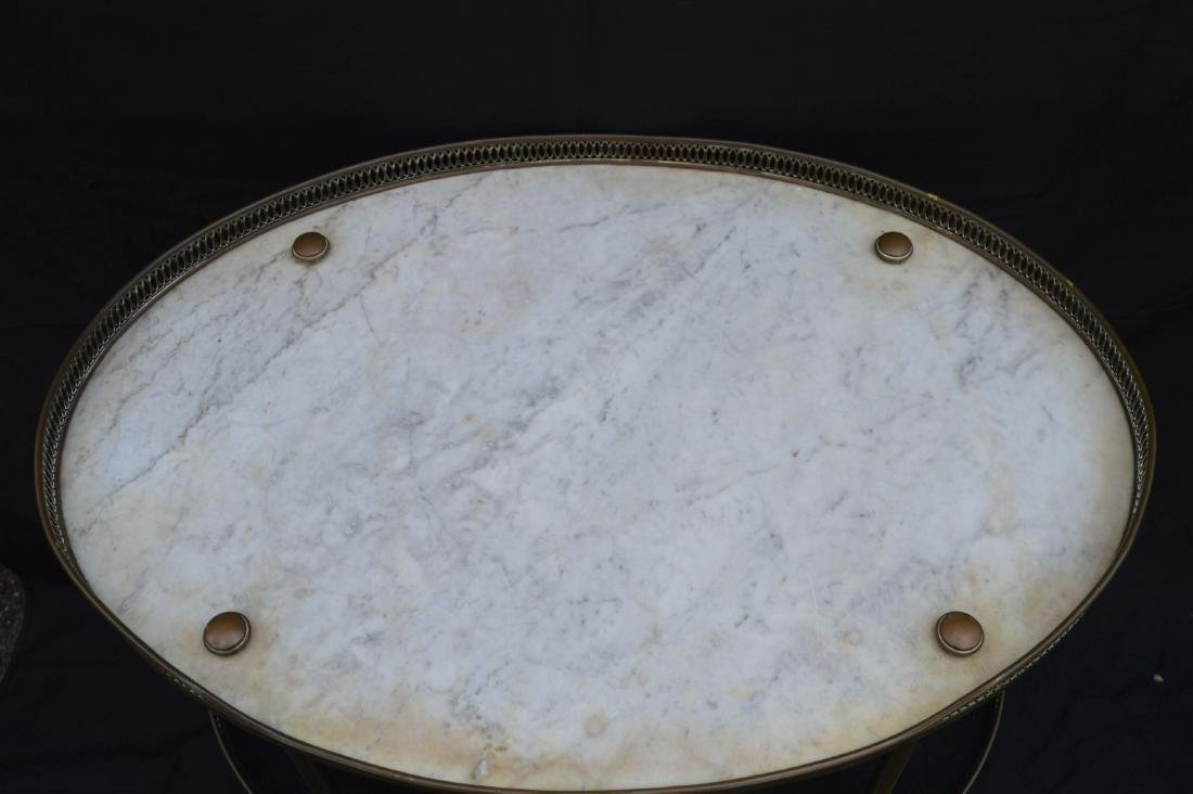 """3 TIER MIDCENTURY MARBLE TOPPED LIQUOR STAND. 31"""" X 27"""" - 2"""