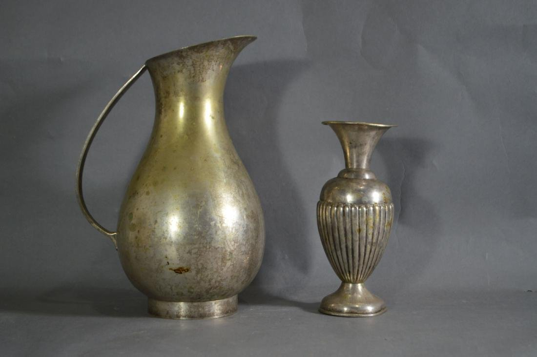 STERLING SILVER VASE AND SHEFFIELD PLATED PITCHER. THE