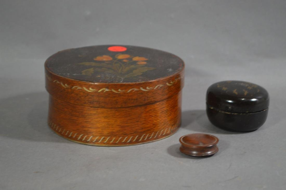 TREENWARE SNUFF BOX AND SMALL PAINTED PANTRY BOX. 5