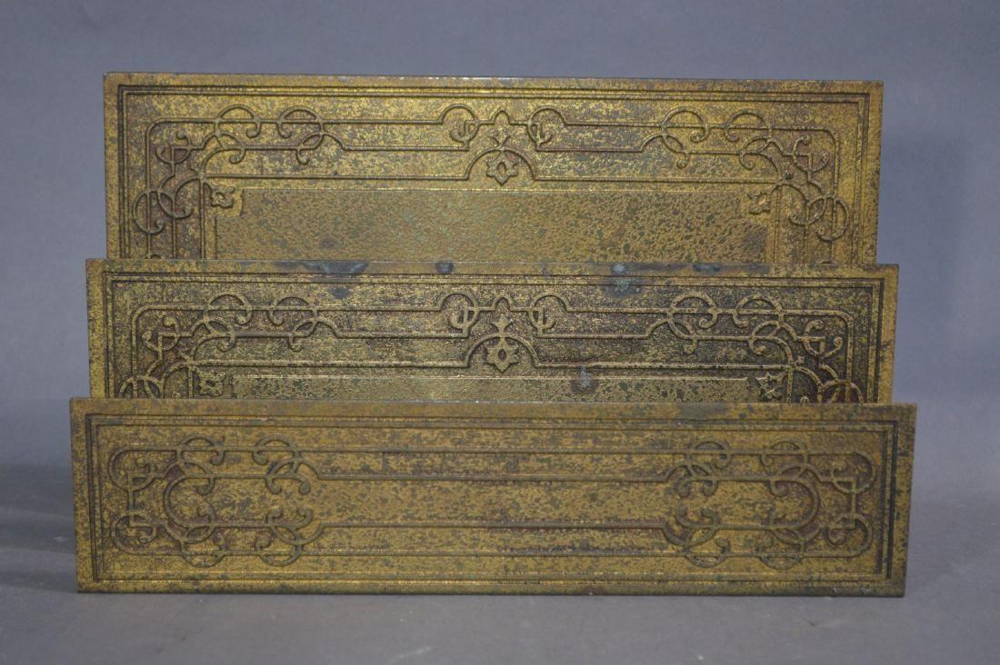 """TIFFANY STUDIOS GILT BRONZE LETTER HOLDER #1878. 9 1/2"""""""