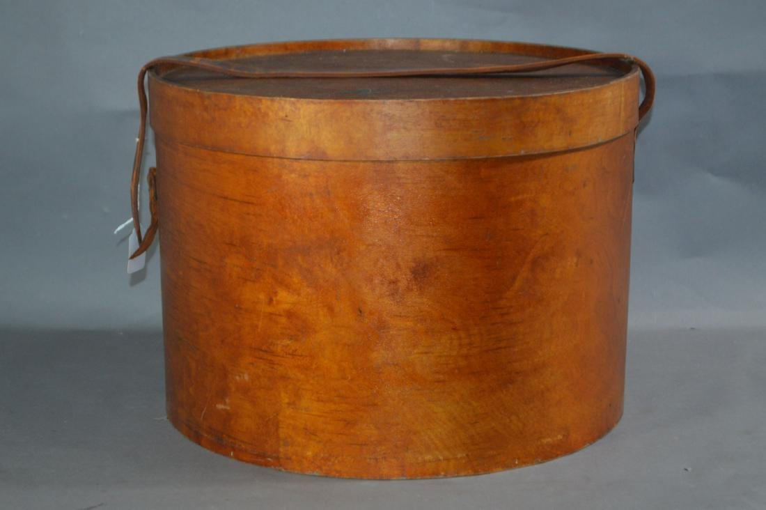 """LARGE SHAKER PANTRY BOX #3 WITH LEATHER STRAPS. 16""""D x"""