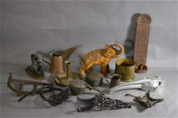 11 PIECES ANTIQUE METAL WARE TRENCH ART ELEPHANT