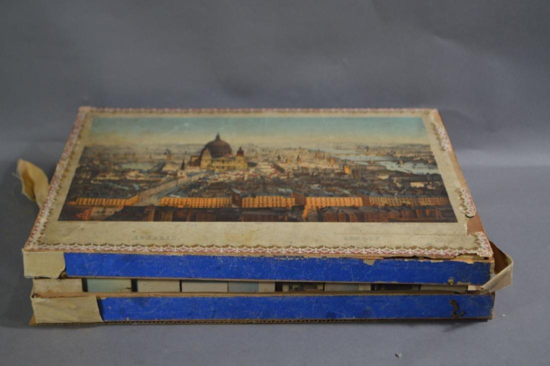 19TH CENTURY WOOD PUZZLE CUBE BOX SET . 6 VIEWS OF