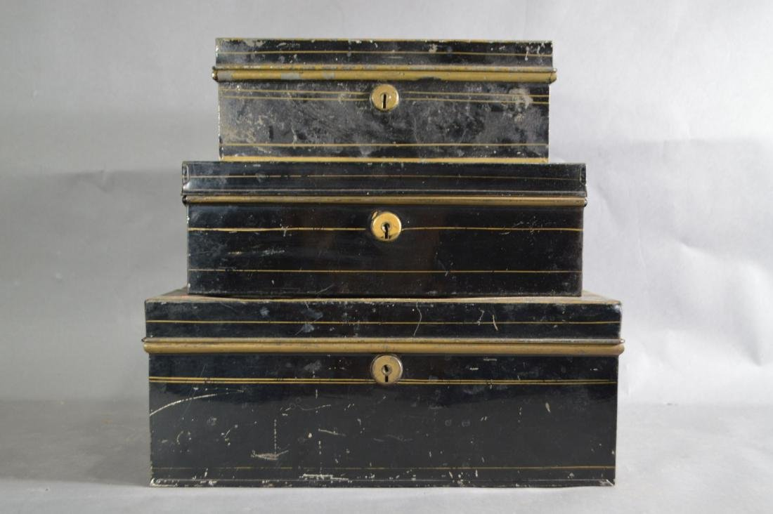 "3 TOLEWARE SAFE BOXES. 13"" x 9"" x 5"" AND SMALLER"