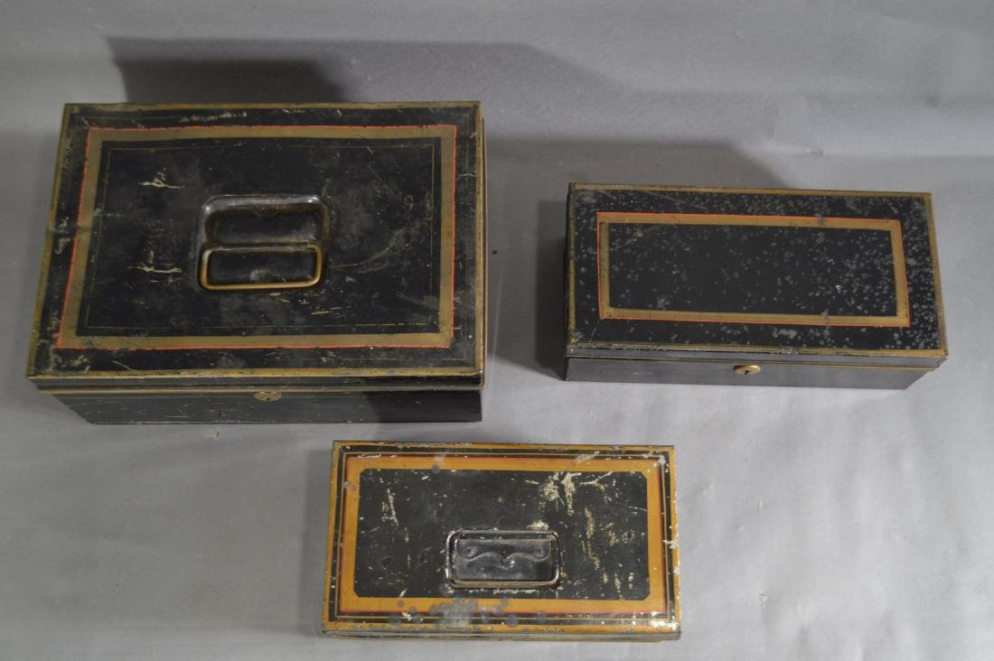 "3 TOLEWARE SAFE BOXES. 13"" x 9"" x 5"" AND SMALLER - 2"