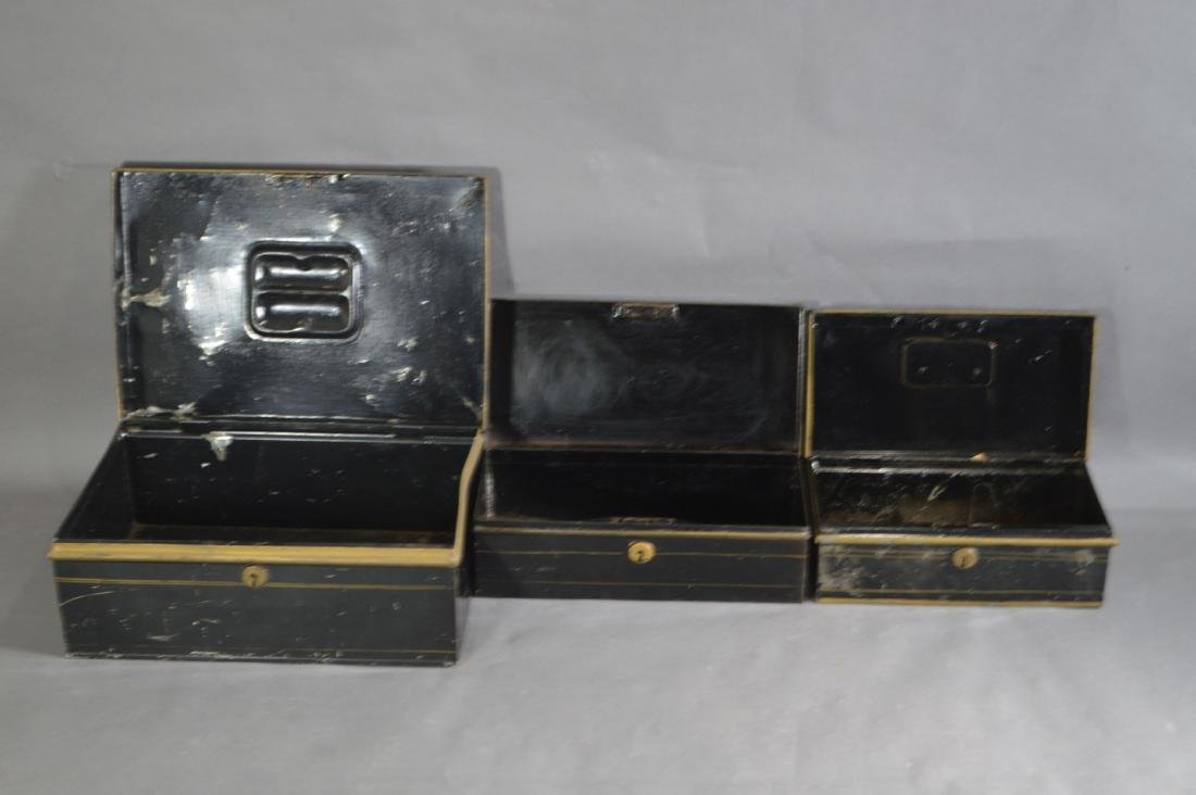 "3 TOLEWARE SAFE BOXES. 13"" x 9"" x 5"" AND SMALLER - 3"