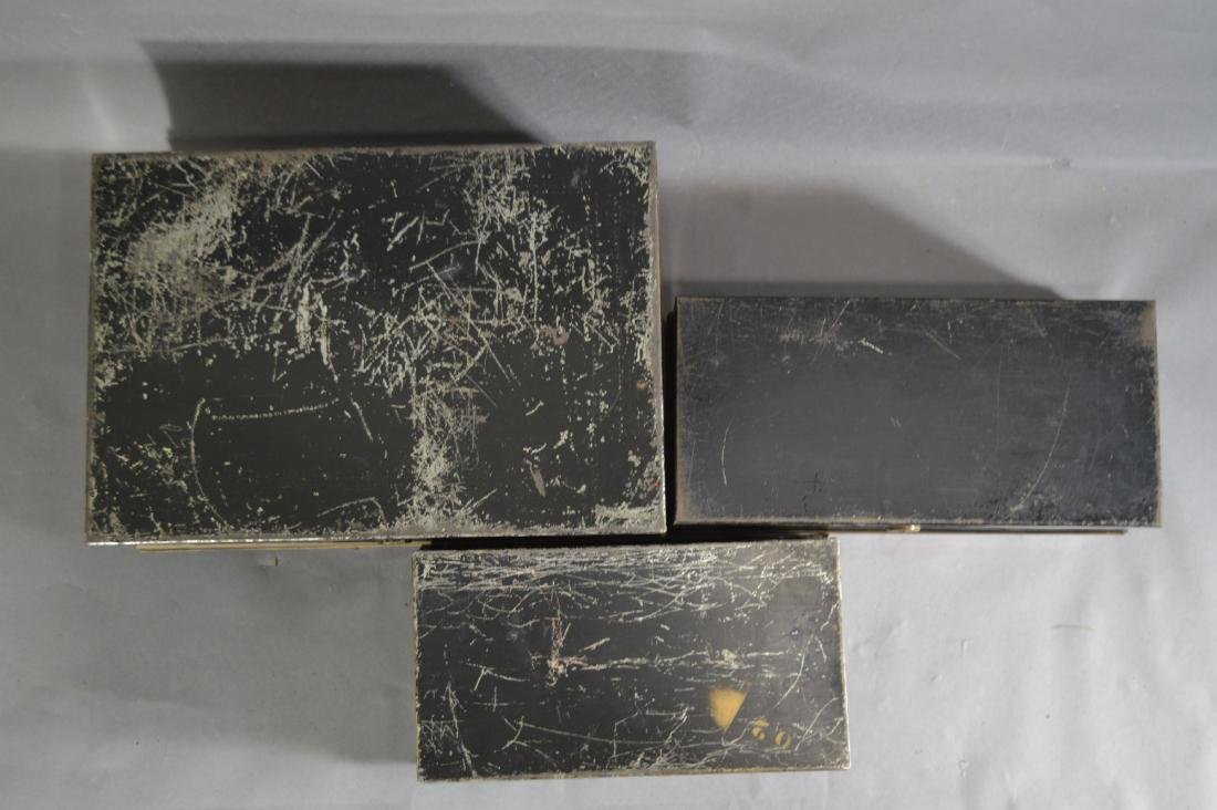 "3 TOLEWARE SAFE BOXES. 13"" x 9"" x 5"" AND SMALLER - 4"
