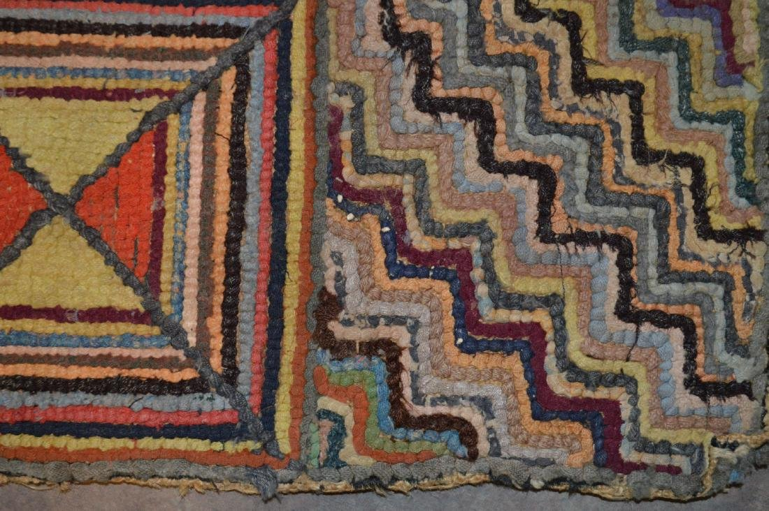 "FOLD ART ANTIQUE GEOMETRIC HOOKED RUG. 42"" x 31"" - 2"