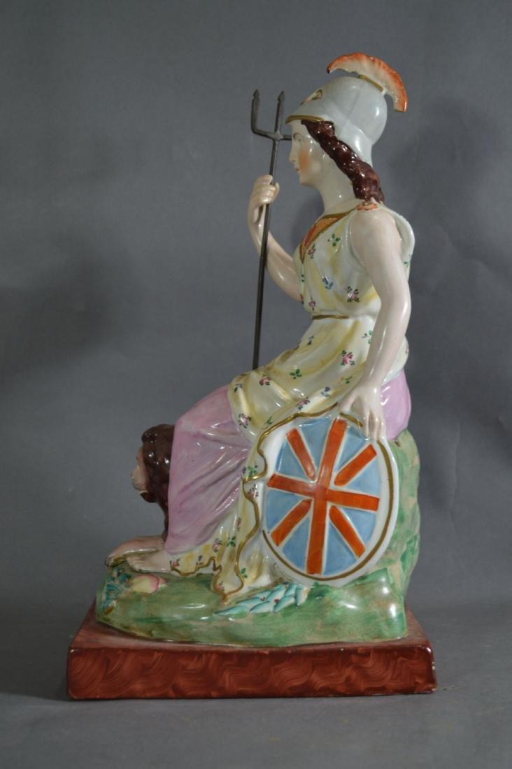 "PORCELAIN FIGURE OF ATHENA SEATED WITH LION. 14 1/2"" x - 2"