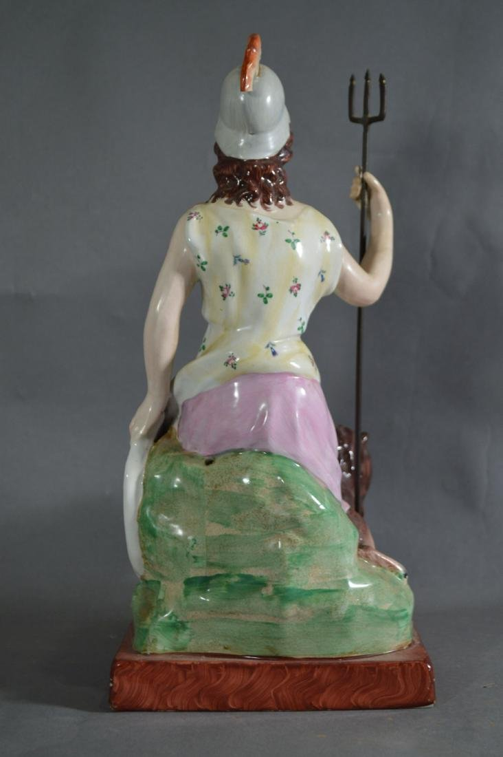 """PORCELAIN FIGURE OF ATHENA SEATED WITH LION. 14 1/2"""" x - 3"""