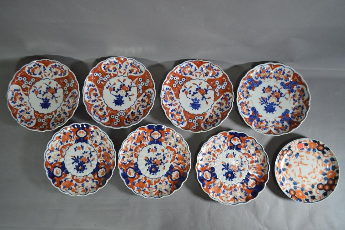 "8 ANTIQUE IMARI PLATES. 8 1/2""D AND SMALLER"