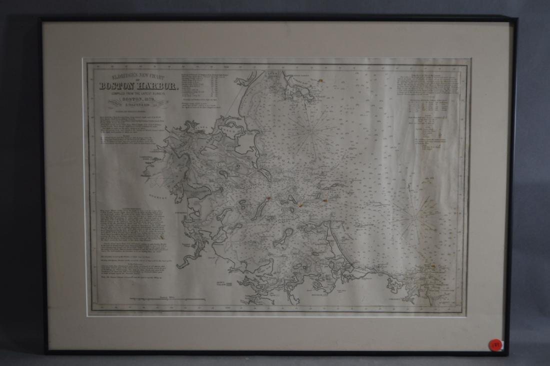 A FRAMED 1879 MAP OF BOSTON HARBOR BY THAXTER AND SONS
