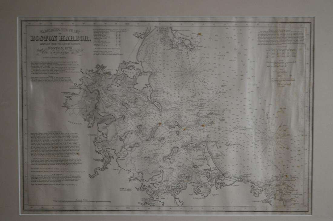 A FRAMED 1879 MAP OF BOSTON HARBOR BY THAXTER AND SONS - 2