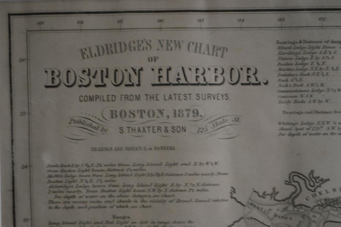 A FRAMED 1879 MAP OF BOSTON HARBOR BY THAXTER AND SONS - 3