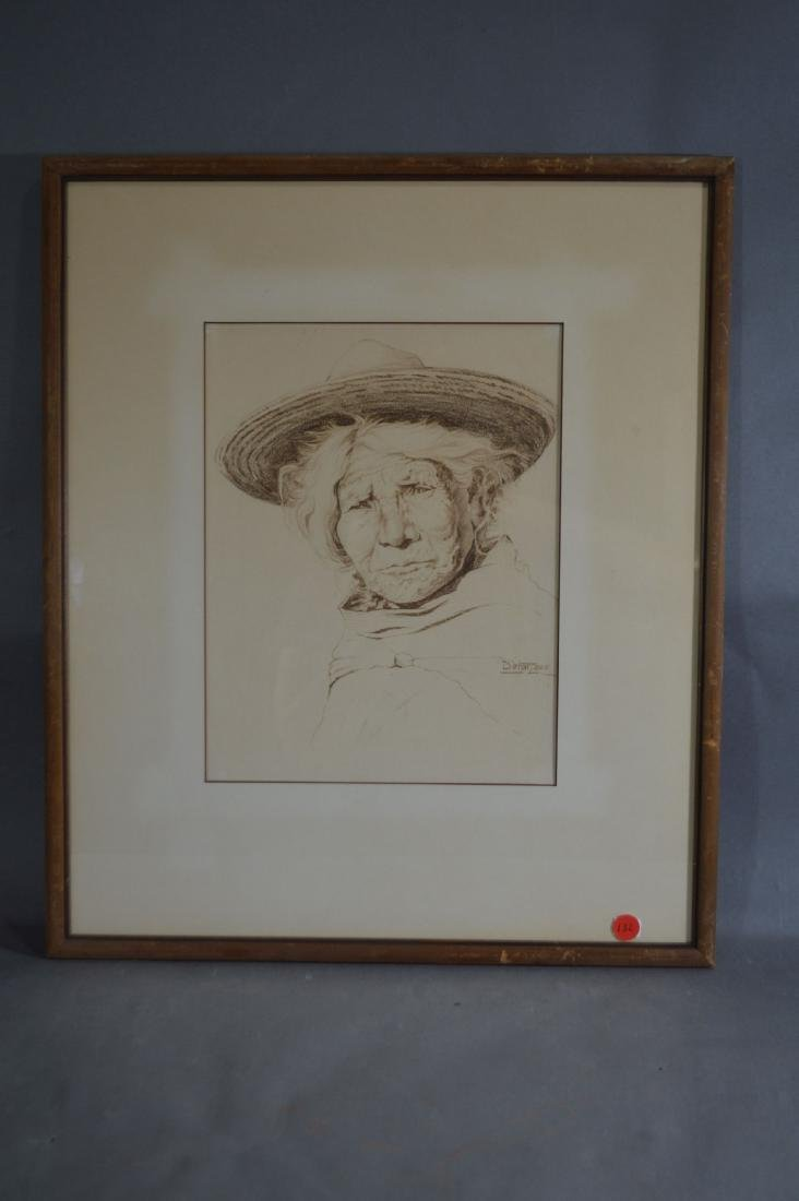 1939 PENCIL SKETCH PORTRAIT OF MEXICAN WOMAN BY