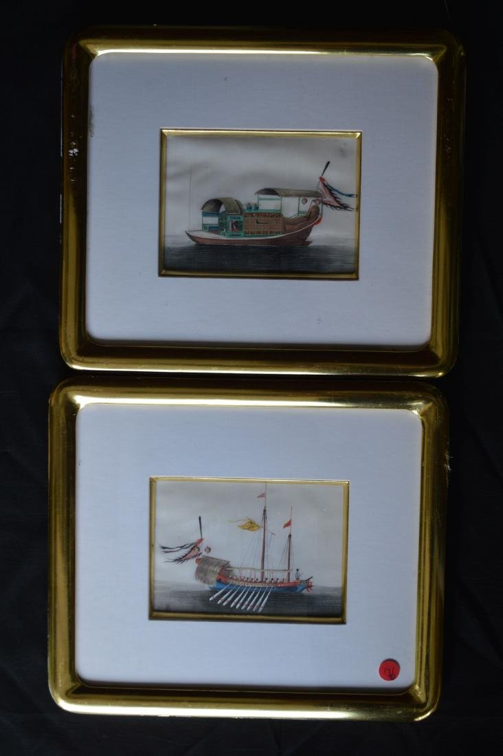 PAIR OF 18TH CENTURY CHINESE WATERCOLORS ON RICE PAPER