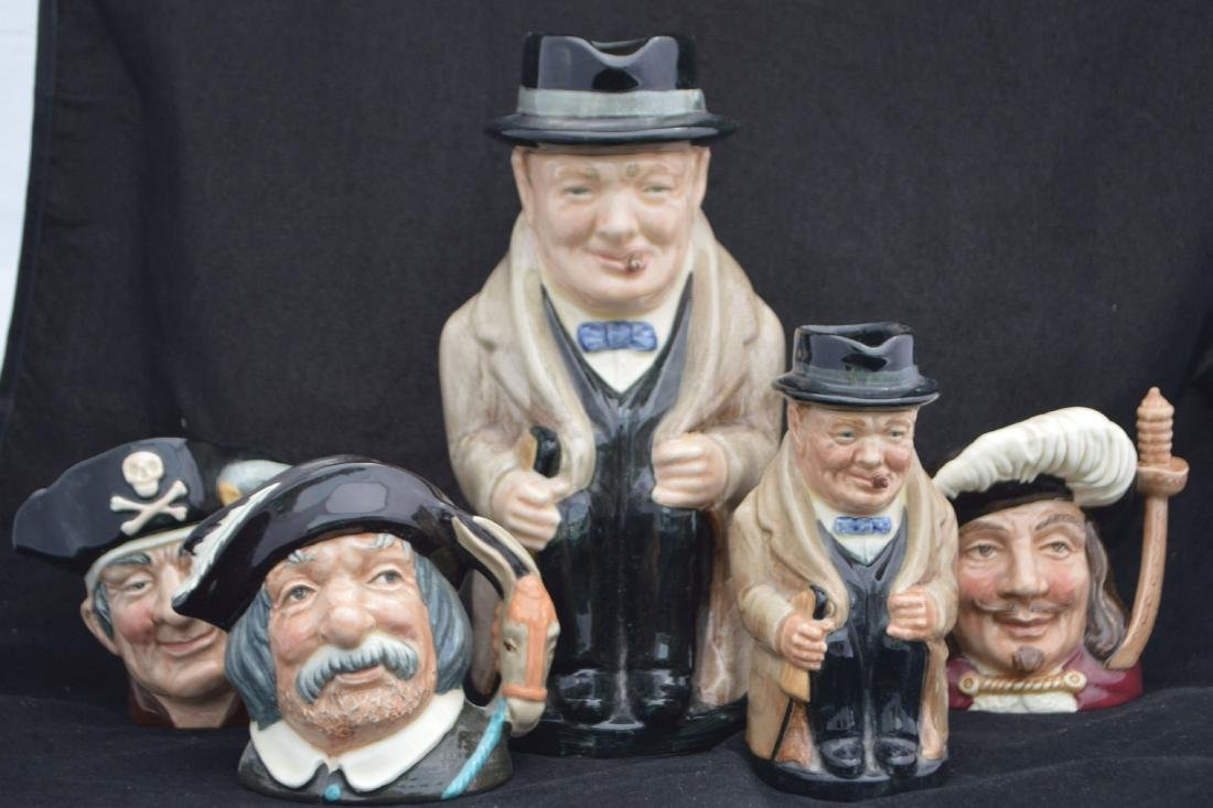 "ROYAL DOULTON WINSTON CHURCHILL CHARACTER MUGS , 9"" AND"