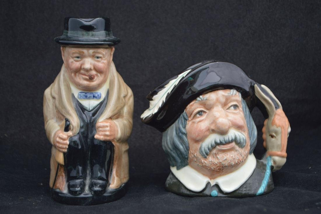 "ROYAL DOULTON WINSTON CHURCHILL CHARACTER MUGS , 9"" AND - 5"