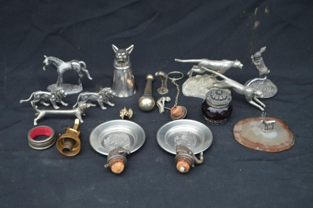 12 +  PEWTER, SILVER PLATE, AND GOLD FILLED FIGURINES ,