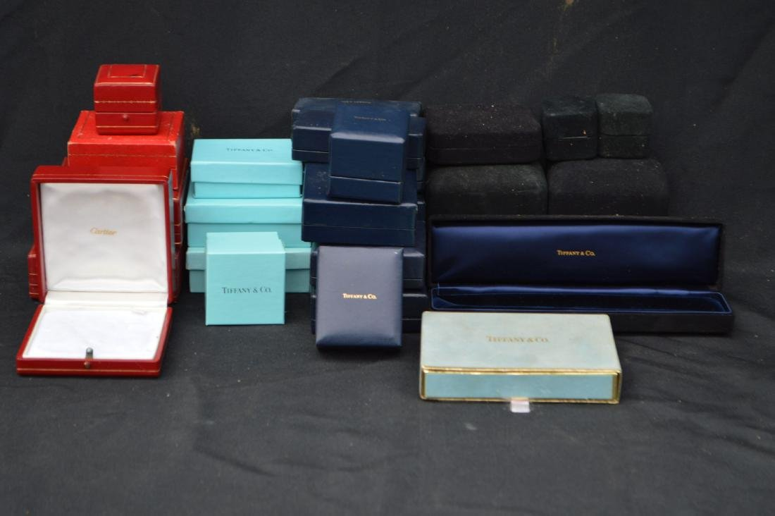 LOT OF 20+ CARTIER AND TIFFANY JEWELRY BOXES