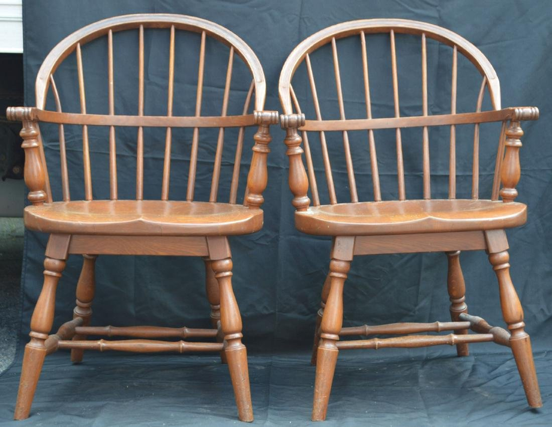 "2 SOLID OAK WINDSOR CHAIRS REMINGTON AND RAND. 36""T,"