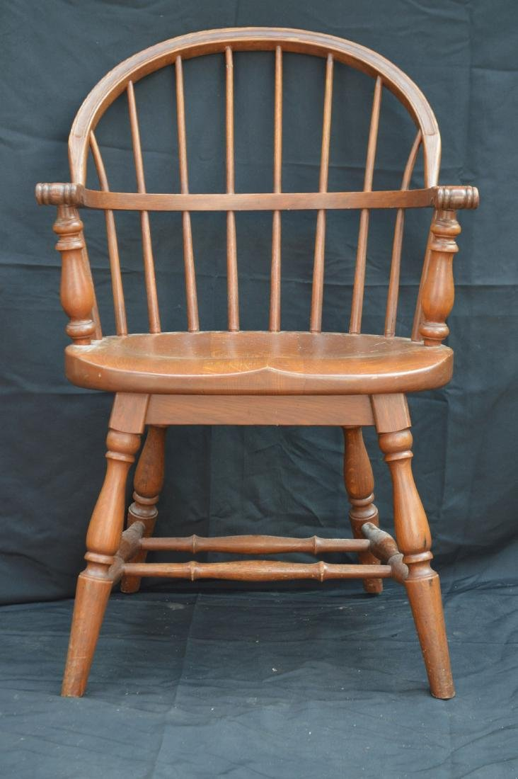 "2 SOLID OAK WINDSOR CHAIRS REMINGTON AND RAND. 36""T, - 2"