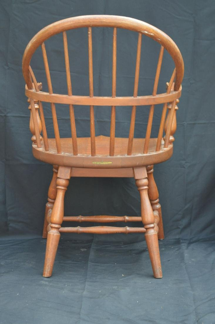 "2 SOLID OAK WINDSOR CHAIRS REMINGTON AND RAND. 36""T, - 4"