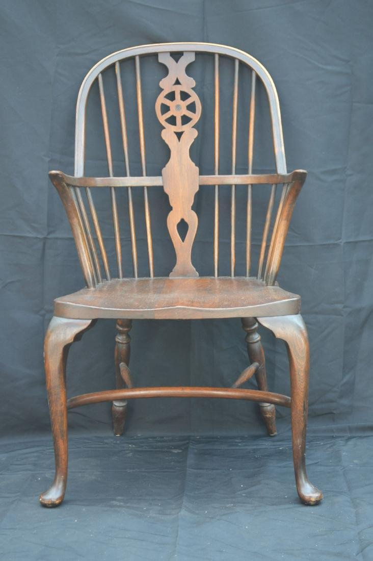 6 OAK QUEEN ANNE STYLE WINDSOR CHAIRS WITH WAGON WHEEL - 2
