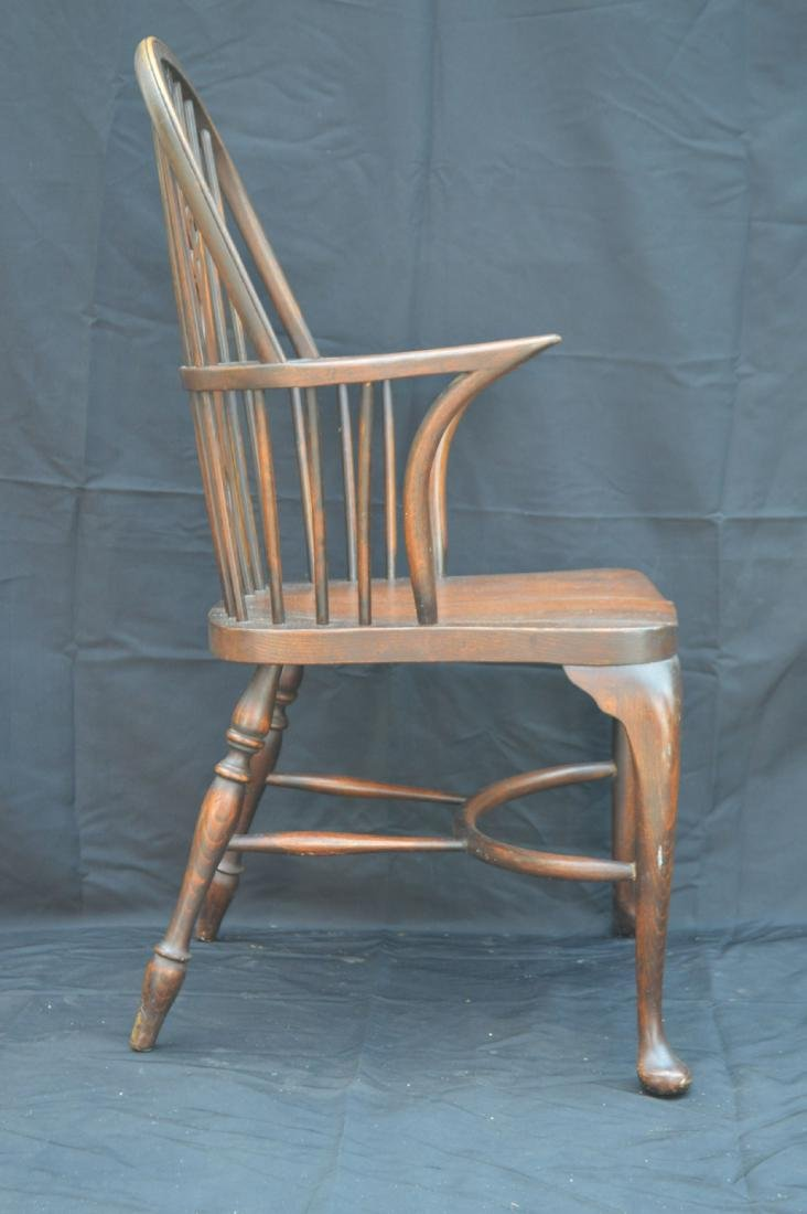 6 OAK QUEEN ANNE STYLE WINDSOR CHAIRS WITH WAGON WHEEL - 3