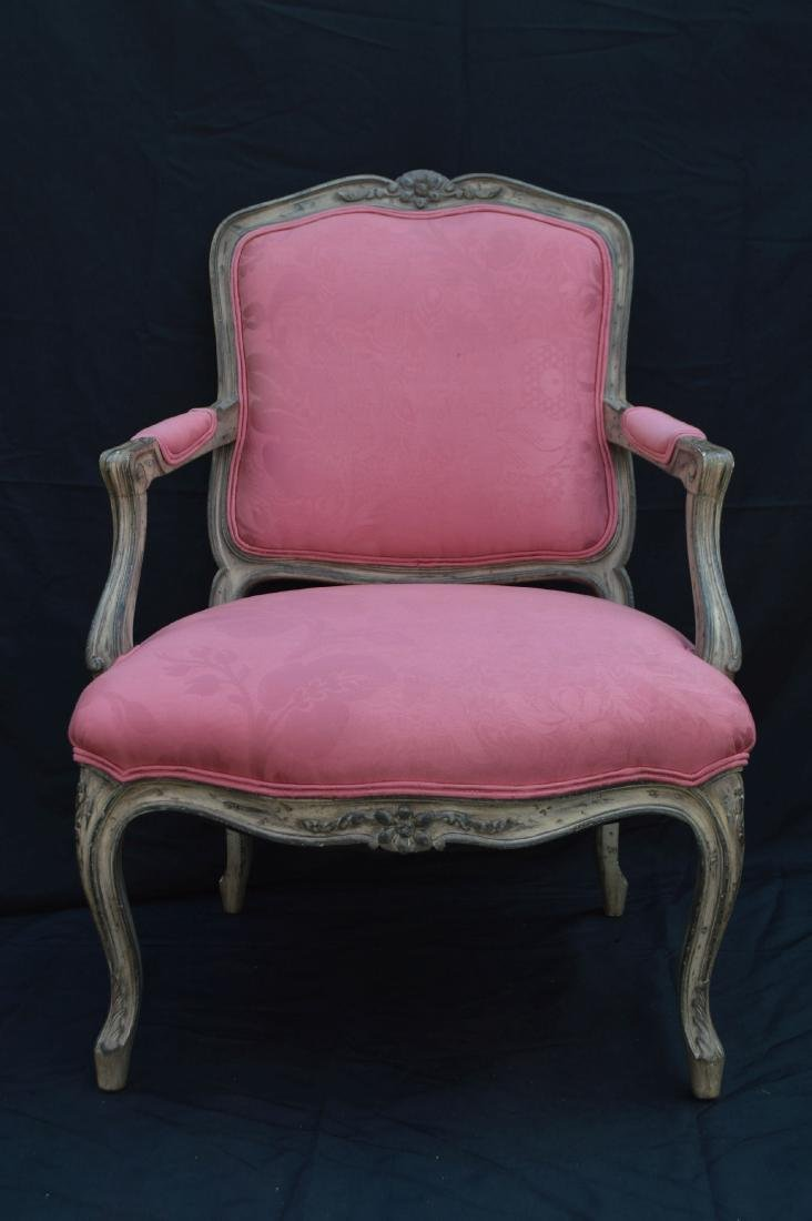 "FRENCH PROVINCIAL CHAIR WITH PINK UPHOLSTERY. 40"" x 24"""