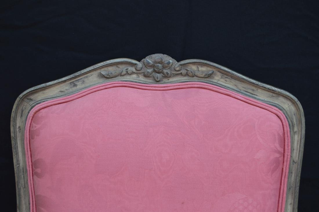 "FRENCH PROVINCIAL CHAIR WITH PINK UPHOLSTERY. 40"" x 24"" - 2"